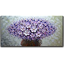 V-inspire Paintings, 24x48 Inch Modern Textured Purple Flower Oil Painting Contemporary Artwork Floral Hangings Stretched and Framed Ready to Hang Wall Decoration Abstract Painting