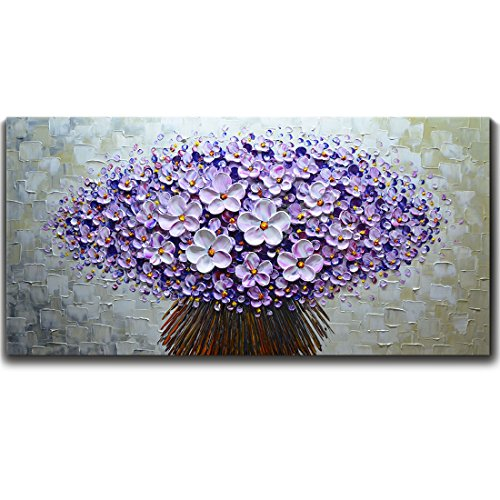 (V-inspire Paintings, 24x48 Inch Modern Canvas Art Textured Purple Flower Oil Painting Contemporary Artwork Floral Hangings Stretched and Framed Ready to Hang Wall Decoration Abstract Painting)