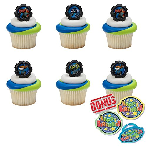 Blaze and the Monster Machines Wheels Cupcake Toppers and Bonus Birthday Ring - 25 piece