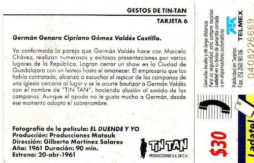 Amazon.com: Gestos Tin Tan Original Mexican Ladatel Phone Card El Duende Y Yo German Valdes: Cell Phones & Accessories