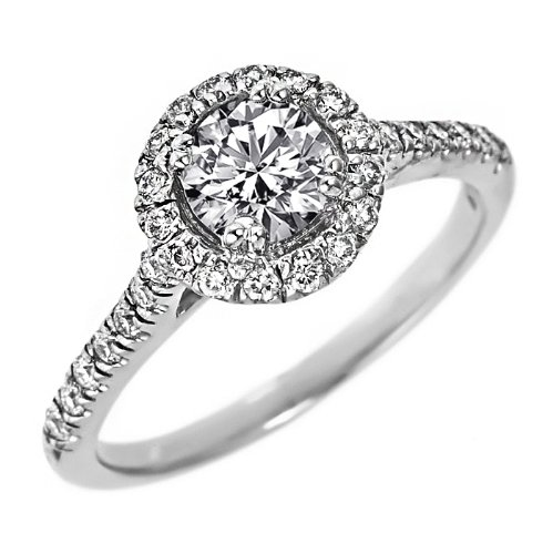 14k White Gold Halo Set Round Brilliant Cut Diamond Engagement Ring with Micro Pave Side Diamonds (0.90 Carat, VS-1 Clarity, F Color)