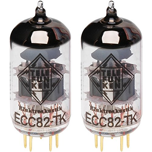 TELEFUNKEN Elektroakustik Matched Pair of ECC82-TK | Black Diamond Series 9 Pin Replacement Vacuum Tube 12AU7