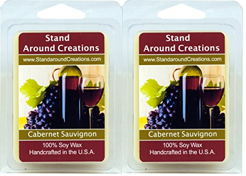Set of 2 - 3 oz. each 100% All Natural Soy Wax Melt Tarts - Scent - Cabernet Sauvignon Wine: The sweet aroma of wild grapes enhanced with hints of strawberries and sweet sugary notes with a light alcoholic background. A wonderful aroma of red sweet cabernet wine.