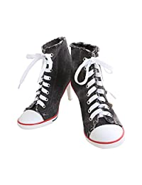 Women's Rivet Canvas Lace Up High Heel Fashion Sneakers Ankle Boots
