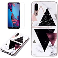 for Huawei P20 Pro Marble Case and Screen Protector,Unique Pattern Design Ultra Thin Slim Fit Soft Silicone Phone Case Bumper,QFFUN Shockproof Anti-Scratch Protective Back Cover - Black Triangle