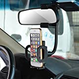 Universal Rear View Mirror Mount Bracket Phone Holder for GPS Phone 3.5-6 inch