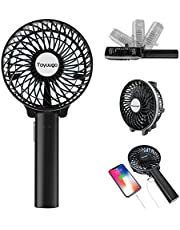 toyuugo Mini Handheld Fan, Electric Portable USB Rechargeable Battery Operated Desktop Fan with Power Bank Function, 3 Speeds Foldable Personal Cooling Fan for Home Office Outdoor Travel