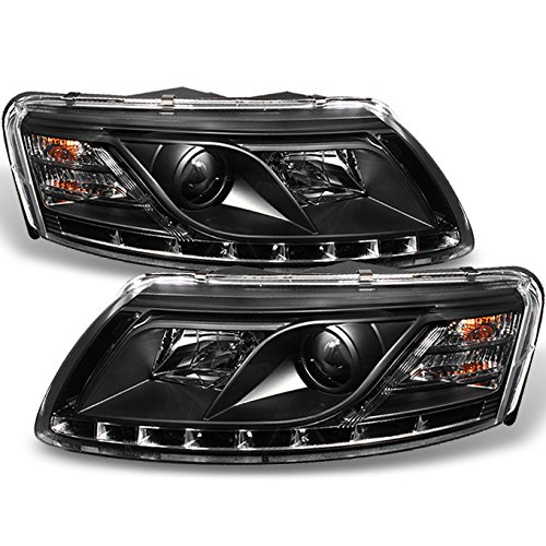 For Audi A6 C6 Sport Sedan Black Bezel DRL Daytime LED Strip Projector Headlights Lamps Left + Right