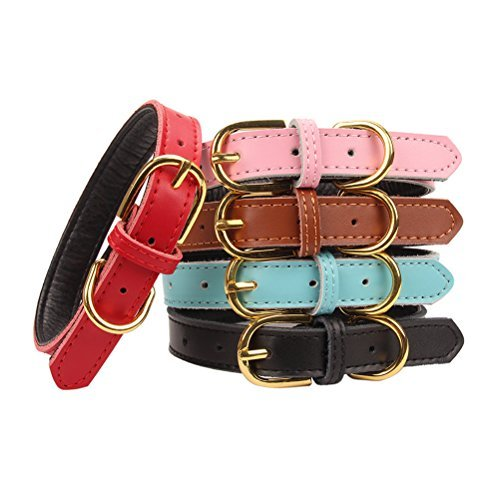 AOLOVE Basic Classic Padded Genuine Leather Pet Collars for Cats/Puppy Dogs, Medium, Pink