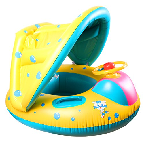 StillCool Baby Pool Float Infant Swimming Ring with Canopy Shade for 1 to 3 Years Old Kids (Yellow)