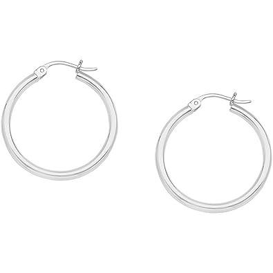 6aa76fd58 2mm Sterling Silver Hoop Earrings (15mm 18mm 22mm 25mm 30mm) (15  Millimeters)