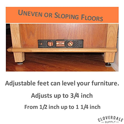 Furniture Levelers - Adjusting Felt Pads for Chair Legs and Furniture - Table Leveling Feet - 1/4-20 Adjustable Furniture Foot - 8 Pack with t-nut and instructions by Cloverdale Supply (Image #3)