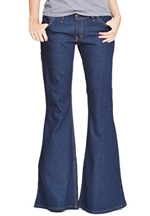 5a77f53104ab New Womens Dark Blue 60s 70s Retro Bellbottom Flares Hippy Wide Flared Jeans  US 4 (