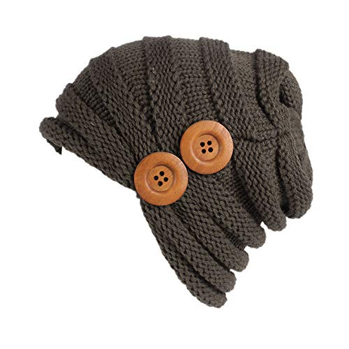 iYBUIA Women Ladies Solid Winter Button Knitting Hat Turban Brim Hat Cap (Khaki,One Size) -