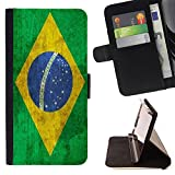 Graphic4You Vintage Brazilian Flag of Brazil Design Thin Wallet Card Holder Leather Case Cover for Sony Xperia XZ