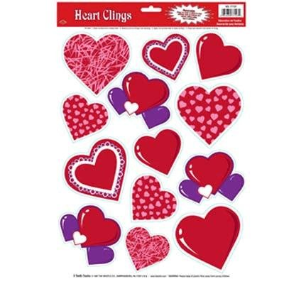 Valentine Heart Window Clings (Pack of 48)