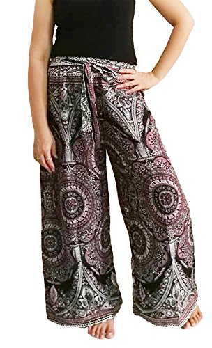 Comfy Pantsy Palazzo Pants For Women Gypsy Hippie Boho Elastic High Waist Tie Front Wide Leg Palazzo Pants For Women Gypsy Hippie Boho Elastic Waist, Wide Leg Tie Waist Pants (Medium)