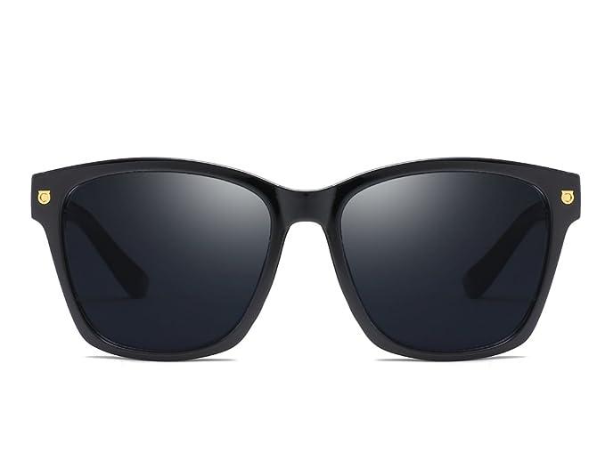 32b73b1440ee Classic 80s Wayfarer Style Sunglasses New Black Squared Rectangle Sunshade  UV400 (Black)