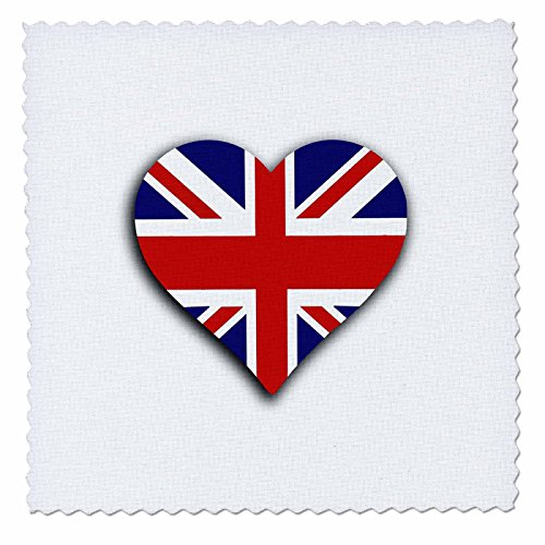 Union Comforter Square (3dRose British Flag Heart-UK Union Jack for England and Great Britain Fans-Quilt Square, 6 by 6