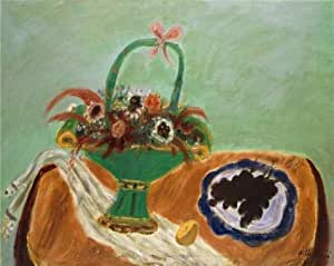 'Nicholas Vasilieff,Still Life with Green Basket,1953' oil painting, 24x30 inch / 61x77 cm ,printed on Cotton Canvas ,this Reproductions Art Decorative Prints on Canvas is perfectly suitalbe for Bathroom decoration and Home decor and Gifts