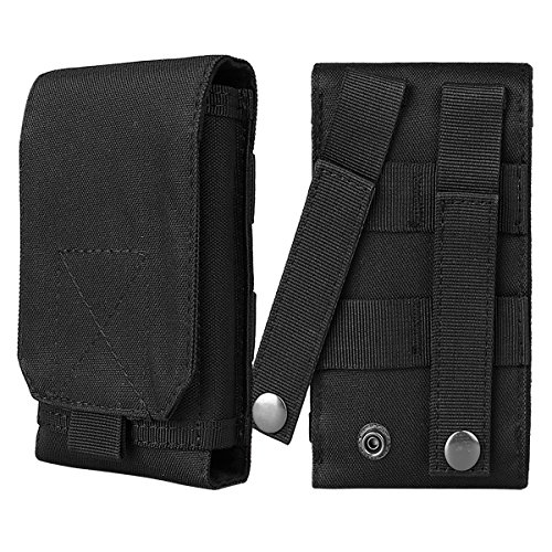 - xhorizon SR Tactical MOLLE Smartphone Holster, Universal Mobile Phone Belt Pouch EDC Security Pack Carry Accessory Pouch Belt Loops Waist Bag Size S (can hold 3-4.5 inch smartphones with slim case)