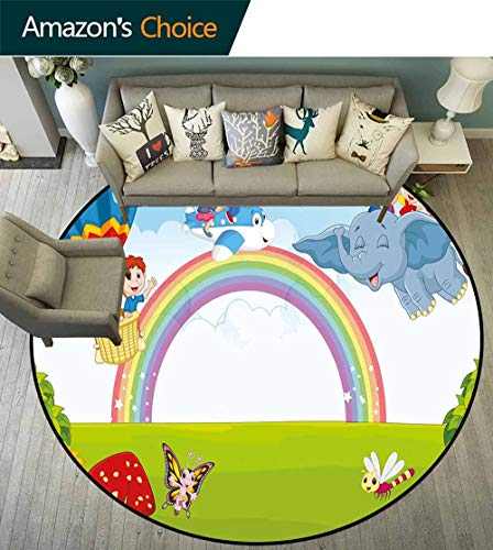 Rainbow Round Rug Baby Room,Cartoon Kids Flying on Baloon Plane and Elephant with Green Field and a Rainbow Non Slip Absorbent,Multicolor,D-47 -