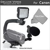 NextGen LED Video Light+Mini Zoom Shotgun Microphone w/Mount+Video Stabilizer Kit For Canon VIXIA HF R700 HF R72, HF R70, HF R62, HF R60, HF R600 Camcorder Includes Stabilizer+Microphone+LED Light Kit
