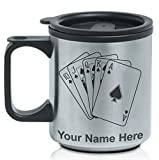 Coffee Travel Mug - Royal Flush Poker Cards - Personalized Engraving Included