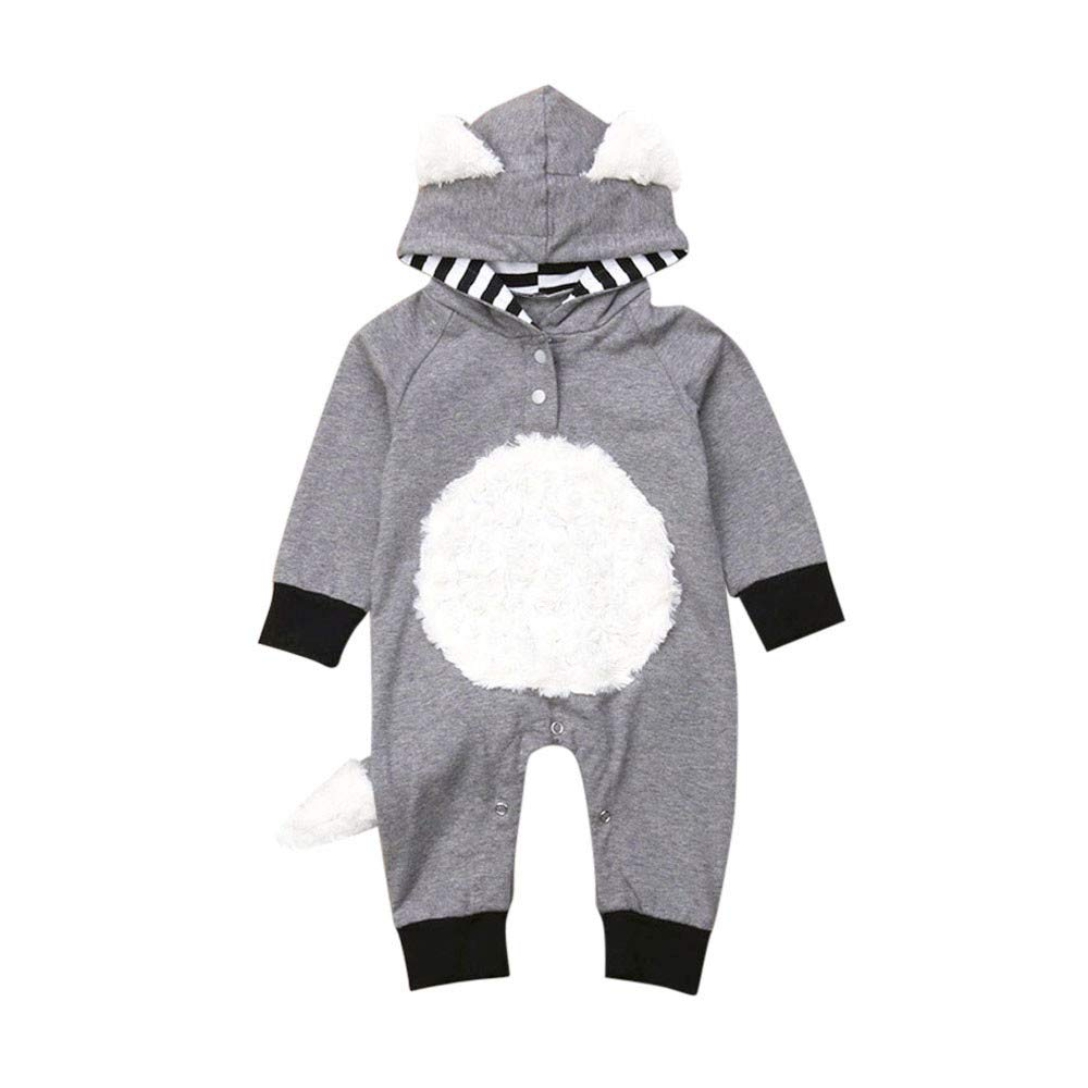 KONFA Toddler Newborn Baby Boys Girls Fall Winter Clothes,Cartoon Fox Hooded Romper with Tail Cotton Jumpsuit Set