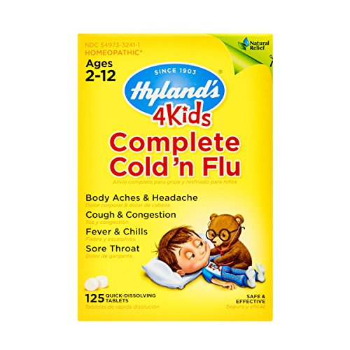 Kids Cold and Flu Relief Tablets by Hyland's 4Kids, Complete Cold 'n Flu, Natural Homeopathic Relief of Cold and Flu, 125 Count (Best Medicine For Cough And Cold And Fever)