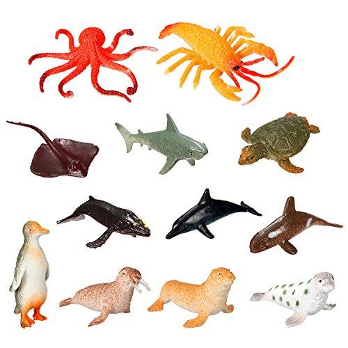 Sea Animal Toys - 12 Pieces Plastic Marine Animal Model Toy Figure Ocean Creatures Dolphin child Kid - Sea Animals Figures - Ocean Animal Toys