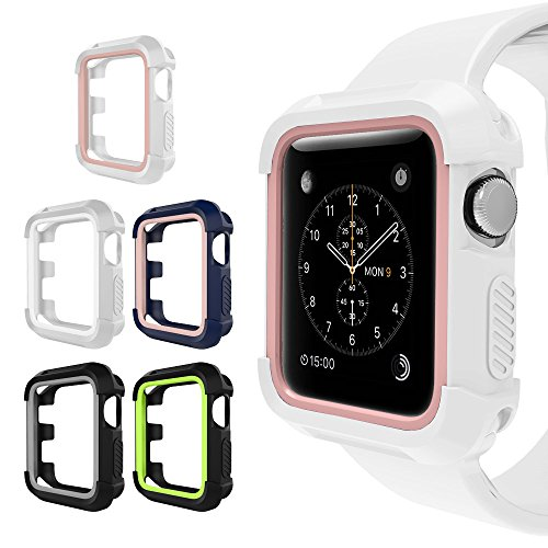 UMTELE For Apple Watch Rugged Case 38mm, Shock Proof Bumper Cover Scratch Resistant Protective Case for Apple Series 3, Series 2, Series 1 (38mm, 5-Pack) by UMTELE