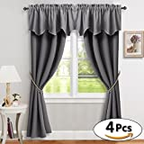 RYB HOME Mix & Match Curtain Set for Living Room Blackout Drapes Window Dressing Energy Saving for Kitchen, Grey (set of 2 Draperies 42″ x 84″, set of 2 Valances 52″ x 18″) Review
