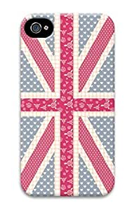 3D Hard Plastic Case for iPhone 4 4S 4G,Dots Heart and Flower United Kingdom Flag Case Back Cover for iPhone 4 4S
