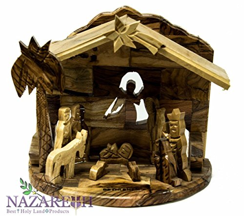 Bethlehem Star Nativity Statue Hand Carved Olive Wood Set Holy Land 6.7'' by Holy Land Gifts