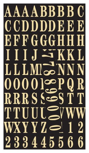Hy-Ko MM-2 Gold Self-Stick Numbers & Letters Pack, 1'