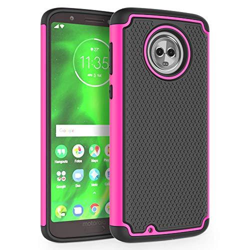 [Shockproof] Defender Phone Case Cover for Motorola Moto G6 (G 6th Generation) [Hot Pink] ()