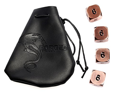 Forged Dice Co.. Metal Polyhedral Dice (Set of 4 D6 w/Bag, Antiqued Copper w/Black Numbers Set of 4 D6 w/Bag)