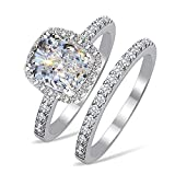 RussianHeartsDiamonds.com TOP Grade 2 Carat Radiant Emerald Cushion Cut Simulated Diamond Ring Band Set Solid 925 Silver RS6