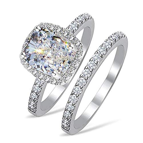 RussianHeartsDiamonds.com TOP Grade 2 Carat Radiant Emerald Cushion Cut Simulated Diamond Ring Band Set Solid 925 Silver RS6 ()