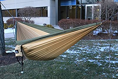New Ridgeline Double Camping Hammock - Portable Lightweight Parachute Nylon - Tree Straps, Dyneema Rope Suspension and 5kN Carabiners