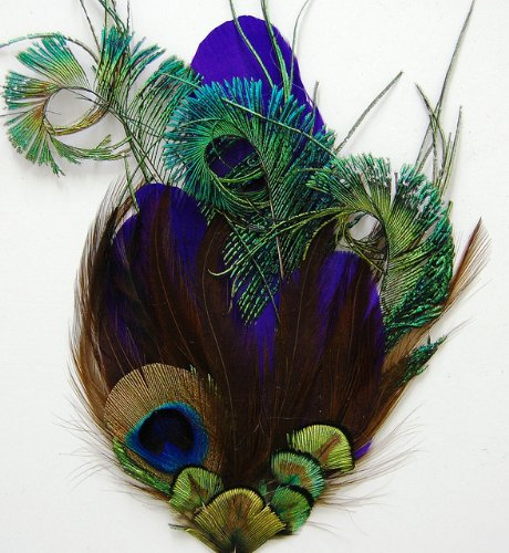 Pheasant Feather Pad (3 Pcs Pheasant Feather Pads - Purple Quill Peacock Pads (#P84))