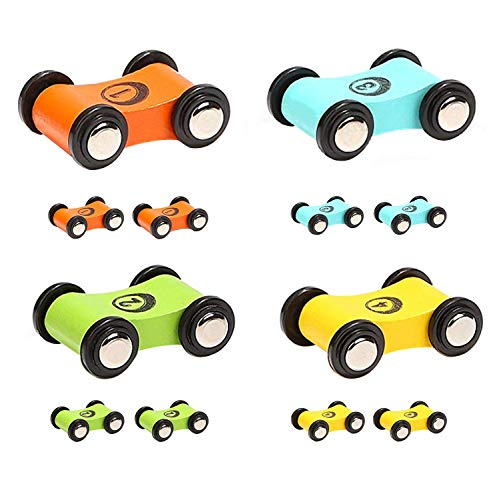 Flip Track - TOP BRIGHT Wooden Car Ramp Race Track Toy Toddler Car Playset Replacement Cars 12 Pack