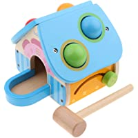Flameer Wooden Montessori Ball Hammering Knock Out Digital Clock Blocks Play Beads Counting Kids Children Educational Toy