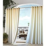 1pc 96 Outdoor Natural Gazebo Curtain, Indoor Patio Porch Deck Entrance Door Grommet Ring Top Doorway Pergola Drapes, Cabana Polyester, Light Yellow Color Outside Window Treatment Single