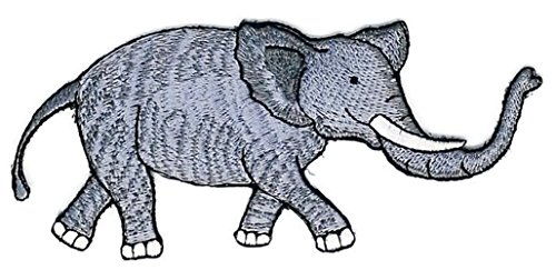 Baseball Costume Womens Diy (5.0 inches x 2.25 inches Gray Wild Elephant Animal Life Cartoon Sew Iron on Embroidered Applique Craft Handmade Baby Kid Girl Women Cloths DIY Costume Accessories)