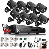 XVIM 8CH Home Security Camera System HDMI CCTV DVR Recorder with 1TB Hard...