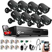 XVIM 8CH Home Security Camera System 1080N HDMI CCTV DVR with 1TB Hard Drive,8x720 Video Surveillance Cameras Outdoor 100ft Night Vision,Easy Remote Access on Phone