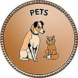 Pets Award, 1 inch dia Gold Pin ''Pets Collection'' by Keepsake Awards