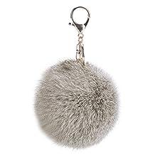 niceEshop(TM) Novelty Rabbit Fur Ball Charm Key Chain for Car Key Ring or Bag (Gray)